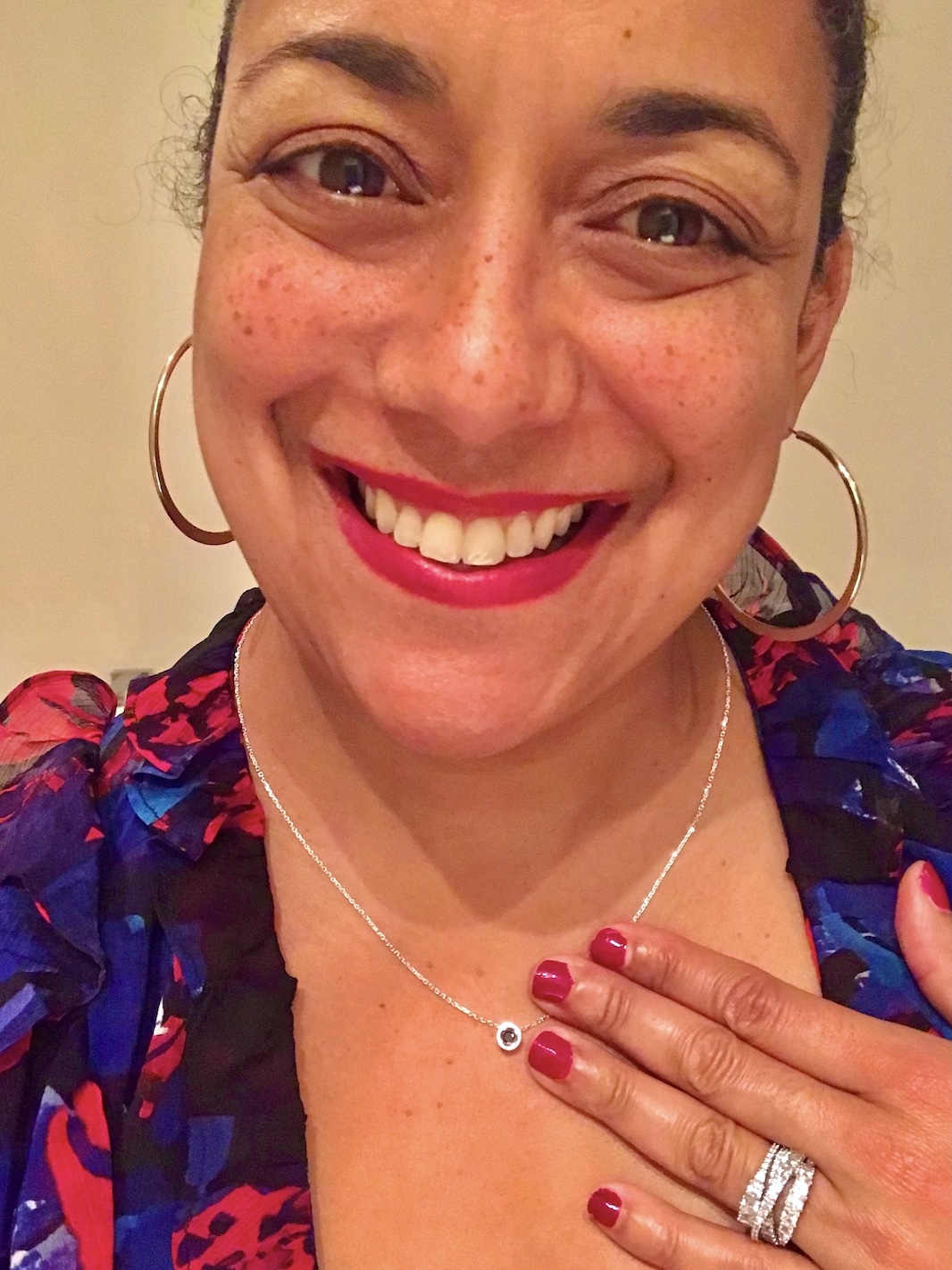 Priya Rao from WhatPriyaSaid wearing Square Peg in a Round Hole Sisterhood Pendant in sterling silver